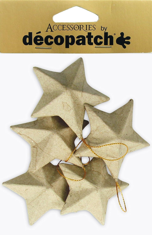 Decopatch-Statuina NO009O stelle, confezione da 5 pezzi, in cartapesta, colore: marrone