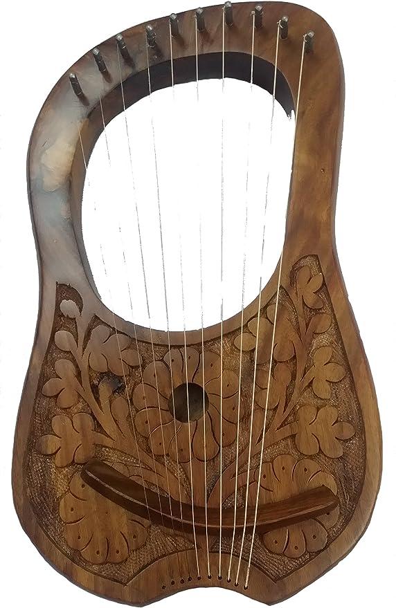 AJW Lira tallada, palisandro, 10 cuerdas de metal, incluye funda ...