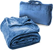 Cabeau Fold 'n Go Travel and Throw Blanket Plus Compact Case - for Home and Travel - Doubles as Lumbar Pillow and Neck Support Pillow - French Microfiber Comfort
