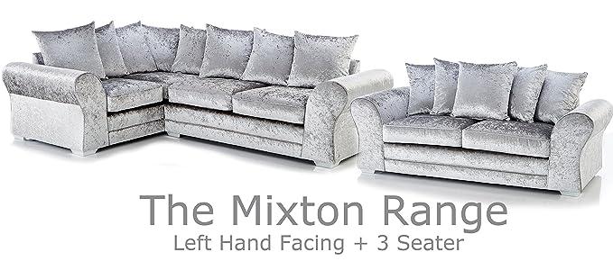 Sofá y cama de fábrica Mixton de terciopelo arrugado grande ...