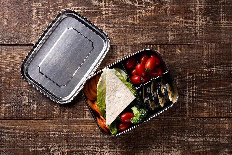 G.a HOMEFAVOR Fiambrera Acero Inoxidable Caja de Almuerzo Bento con 3 Compartimentos Metálica Contenedor De Alimentos para Adultos Y Niños, 1000ml: Amazon.es: Hogar