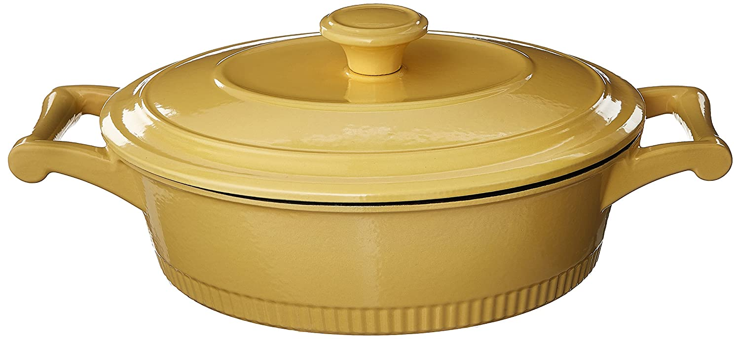 KitchenAid KCTI30CRMY Traditional Cast Iron Casserole Cookware, 3 quart - Majestic Yellow