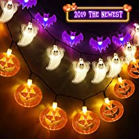 AYOGU1 Set of 3 Halloween String Lights,60 LED Battert Operated String Lights Pumpkin/Ghgost/Bat -Perfect for Halloween Outdoor Yard Party Decorations