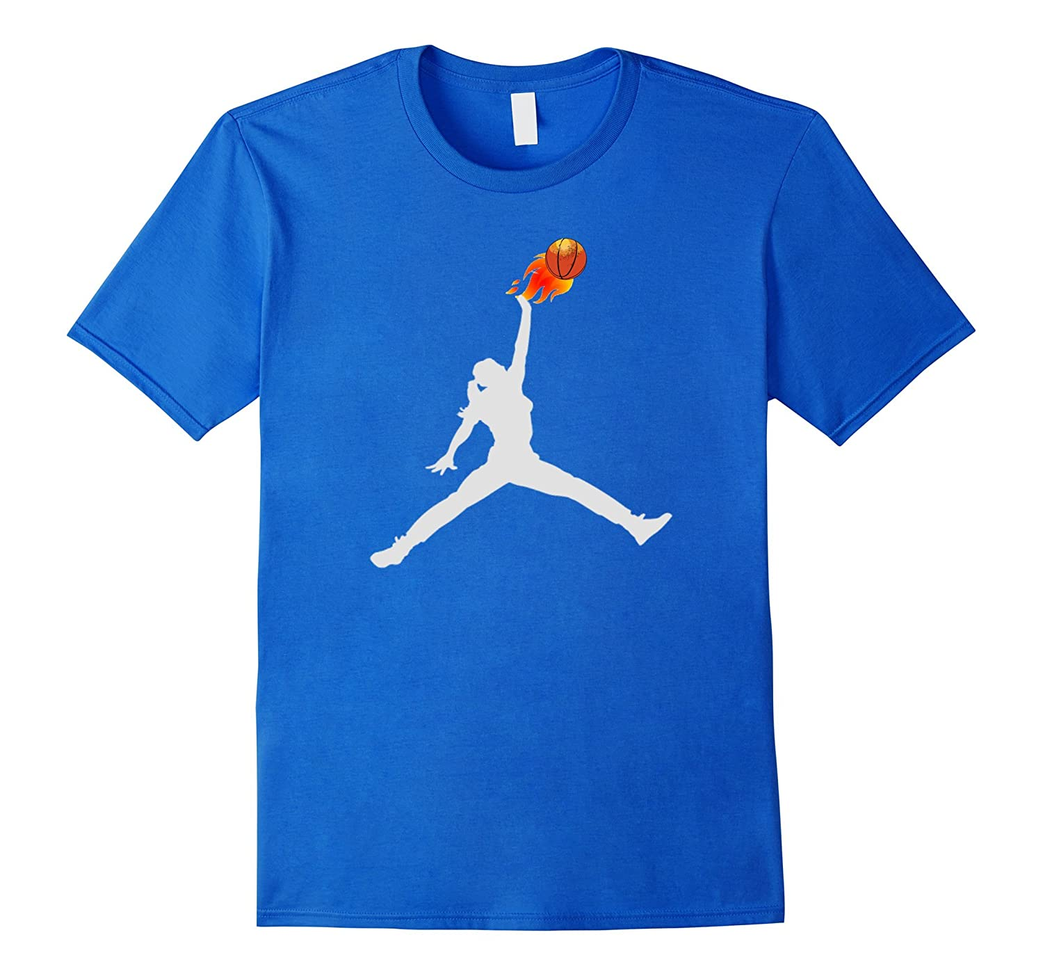 Women's, Girl's Basketball Ball on Fire Tee-Shirt-mt