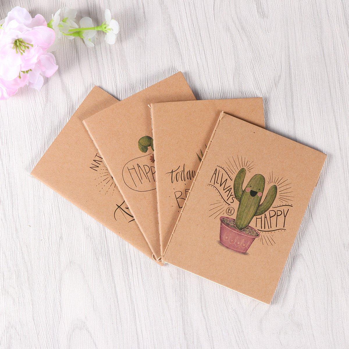 NUOLUX Diario de viaje en blanco del cuaderno del papel de Kraft 24PCS 64K para el dibujo de la escritura serie del cactus