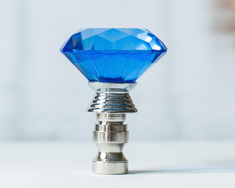 2 of Crystal Diamond Ceiling Lighting Fan Pulls Chain - Blue