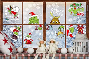 Emopeak Christmas Grinch Window Clings 9 Sheet - Greench Quarantine Party Christmas Window Stickers Decorations Decals for Home School Office Supplies - Double Printed
