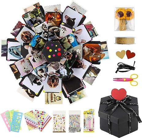 COAWG DIY Surprise Explosion caja de regalo con 8 caras, álbum de fotos creativo hecho a