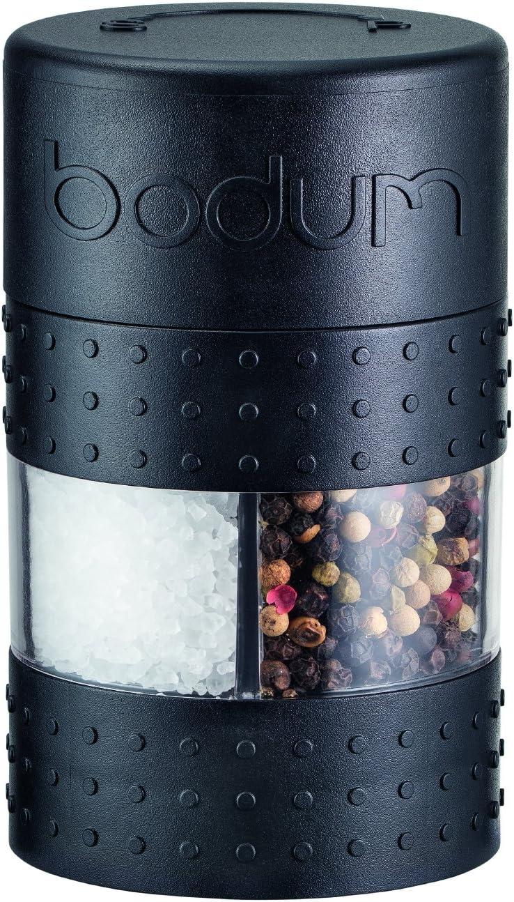 11368-01-3 Bistro Noir -6.9 x 6.9 x 11.3 cm Moulin Sel//Poivre Combin/é Manuel Bodum Plastique
