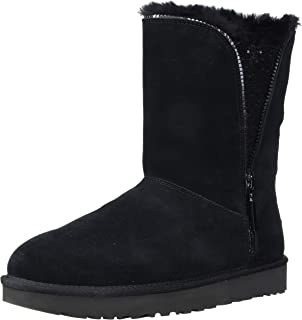 Details about UGG Australia Classic Short Sparkle Zip Boot 1094983 Charcoal Black Chestnut