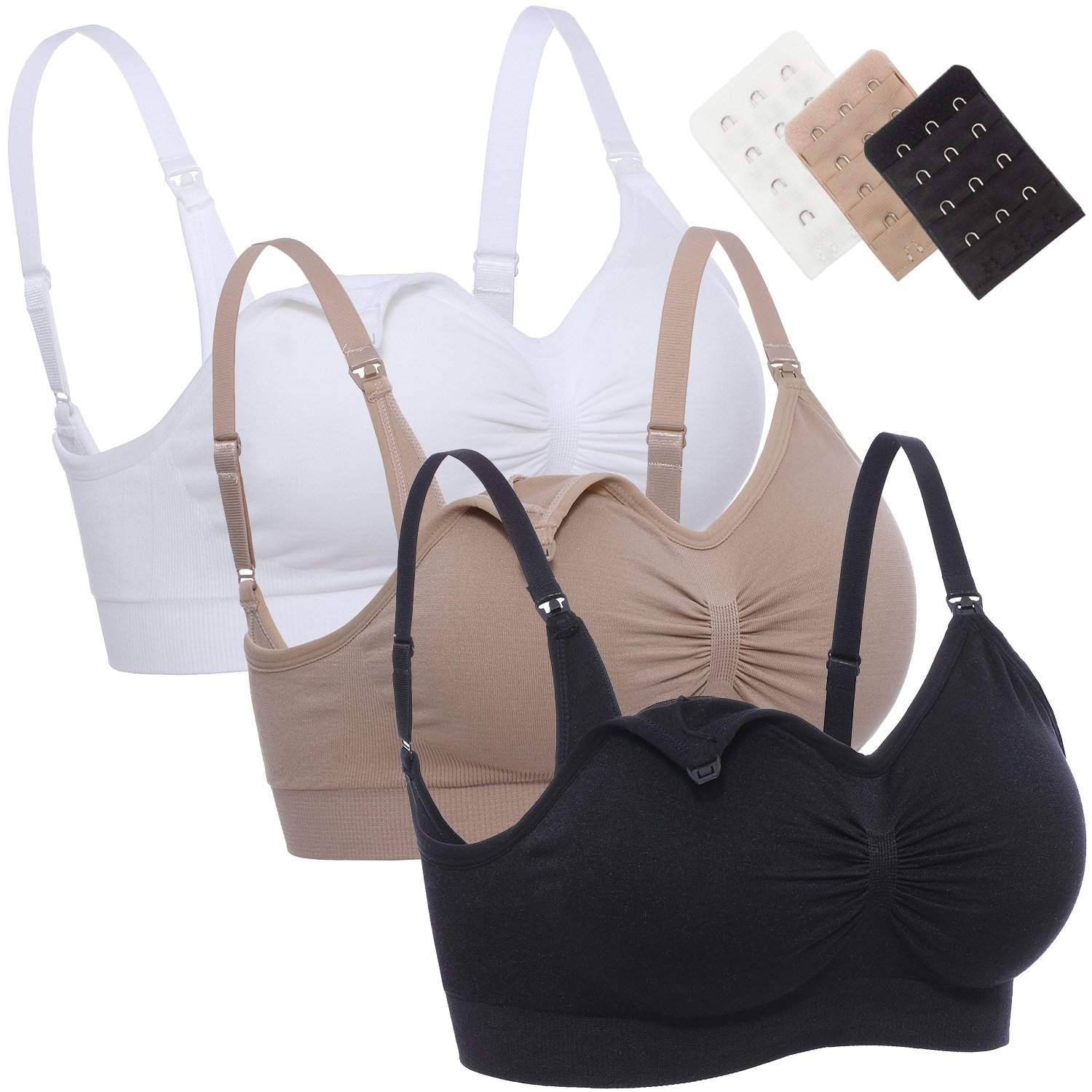 e2706ffcaa Junlan Womens Nursing Bra Maternity Bra Sleep Padded Wireless for  Breastfeeding with Free Bras Extenders Black