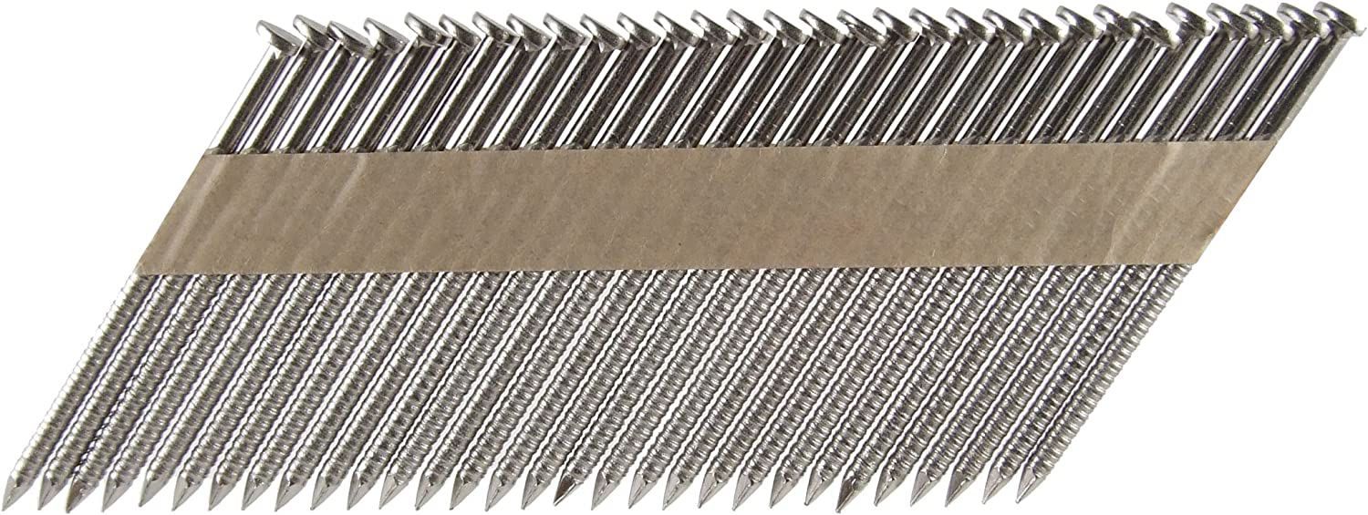 B0000225HR B&C Eagle 314X120RSS/33 Offset Round Head 3-1/4-Inch x .120 x 33 Degree S304 Stainless Steel Ring Shank Paper Tape Collated Framing Nails (1,000 per box) 81VrTs46fbL.SL1500_