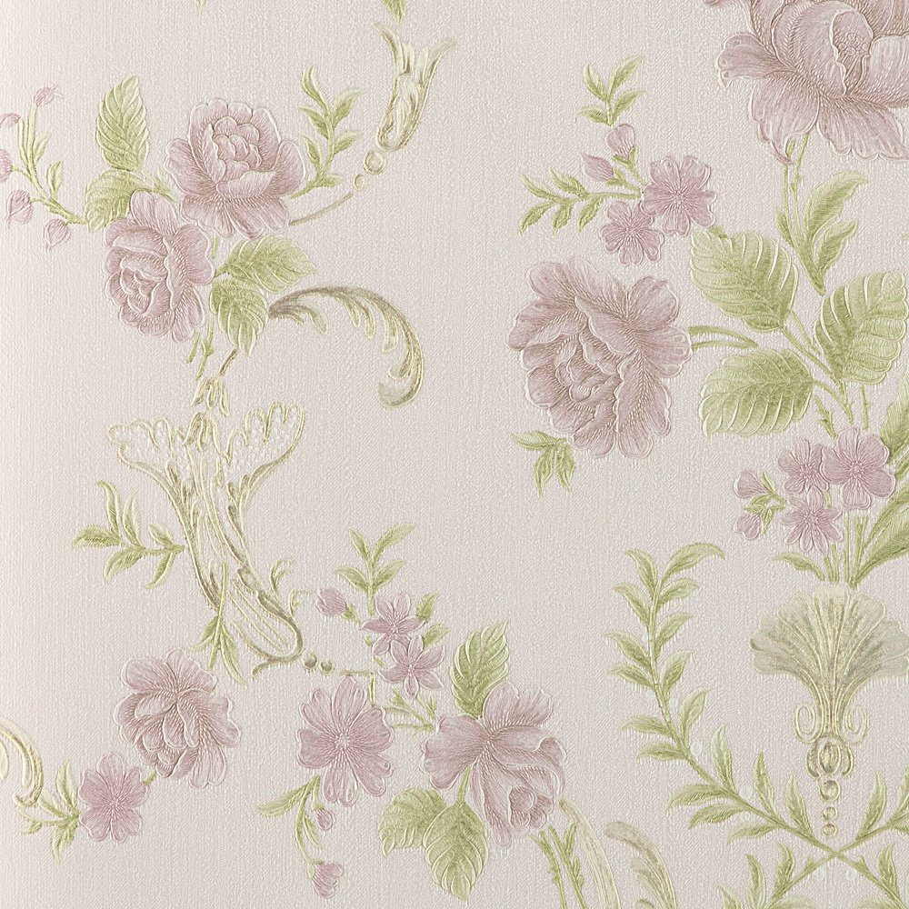 Wopeite Flower Blossom Pink Wallpaper Embossed Leaf Textured Paper Non-Woven Floral Pattern Love Home Decor for Living Room Bedroom TV Backdrop