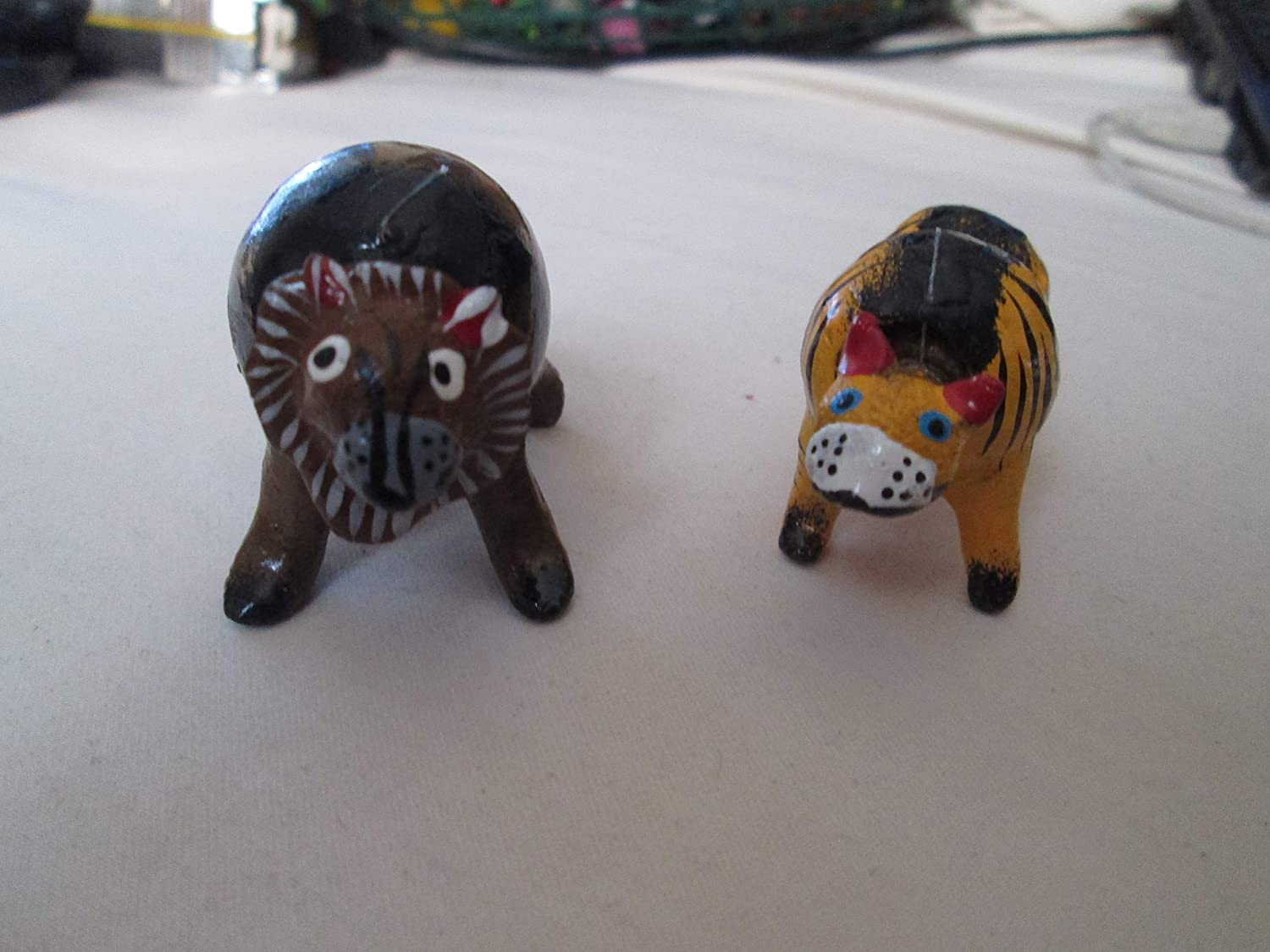 Lot 2 Pair Lion And Tiger Animal Bobble Head Loose Neck Figurine Seed Pod Figure Hand Painted Handmade Toy Toys Games Dolls Toy Figures Accessories
