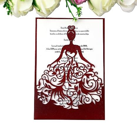 ponatia 25pcs lacer cut wedding invitations card hollow bride invitations cards for wedding bridal invitation engagement - Engagement Invitation Card
