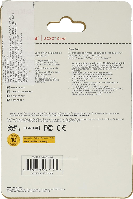 SanDisk 64GB Ultra SDXC UHS-I Card 40 MB/s Class 10 (SDSDU-064G-A11)