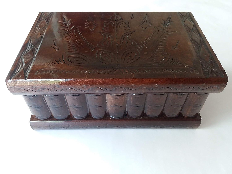 Enorme caja puzzle de rompecabezas de joyería mágica regalo tesoro muy grande de misterio hecho a mano chocolate marrón talladode madera de almacenamiento: Amazon.es: Handmade