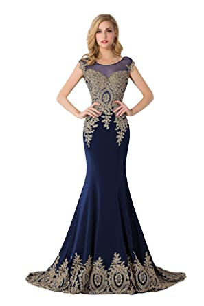 Rhinestone Mermaid Prom Dresses Applique Evening Gowns For Women Formal Navy  2 befb498691cb