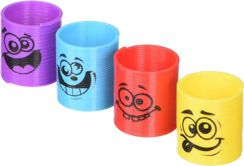 60pcs Multicolour SHATCHI Mini Rainbow Smiley Face 3.5 cm Springs Slinky Pinata Party Loot Bag Fillers Kids Boy Girl Fun Autism Toy, 6pcs-60pcs