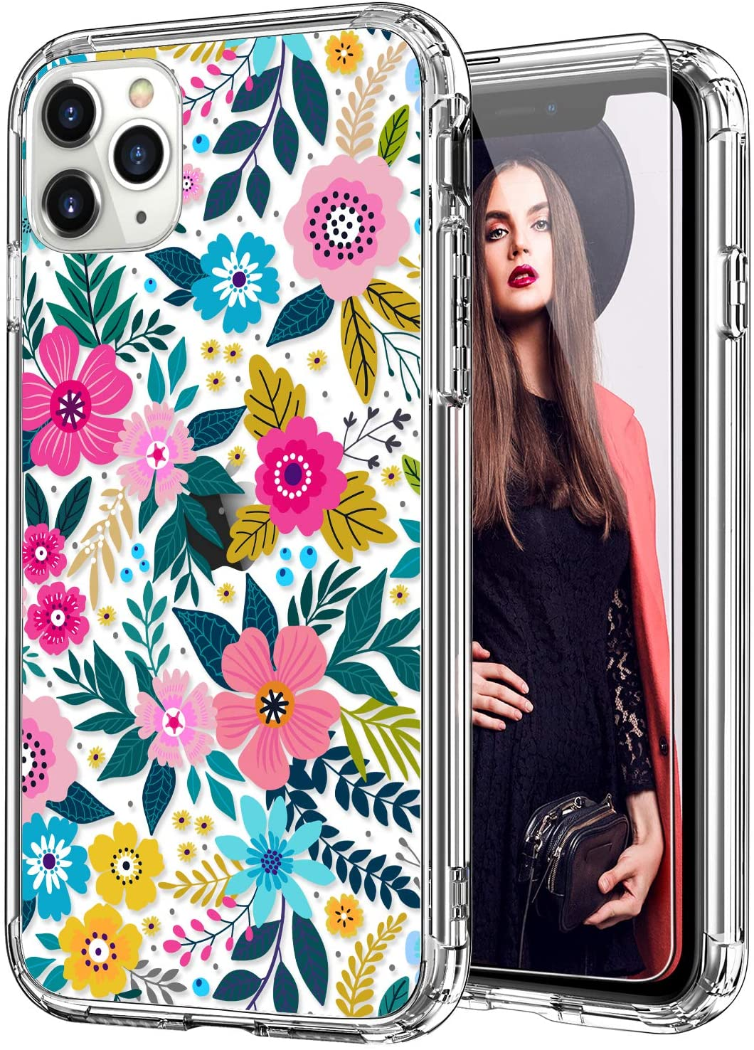 ICEDIO iPhone 11 Pro Case with Screen Protector,Clear with Colorful Blooming Floral Flower Patterns for Girls Women,Slim Fit TPU Cover Protective Phone Case for Apple iPhone 11 Pro 5.8 Inch