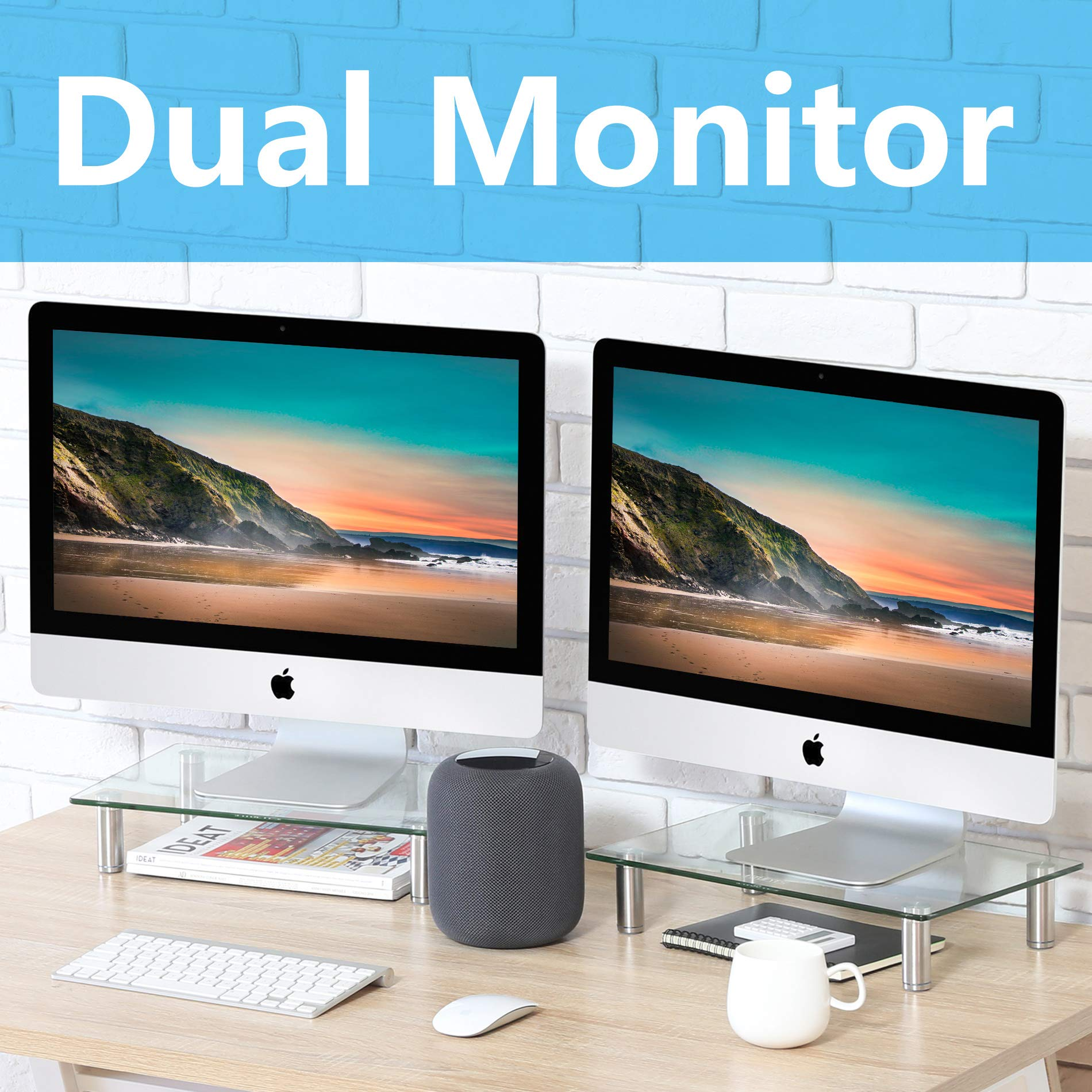 FITUEYES Clear Computer Monitor Riser Dual Desktop Stand for Xbox One/Component/Flat Screen TV -2 Pack,DT103803GC by FITUEYES