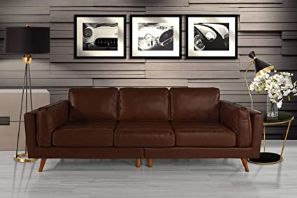 Incredible Upholstered Mid Century Modern Tufted Leather Sofa 96 W Inches Dark Brown Ncnpc Chair Design For Home Ncnpcorg
