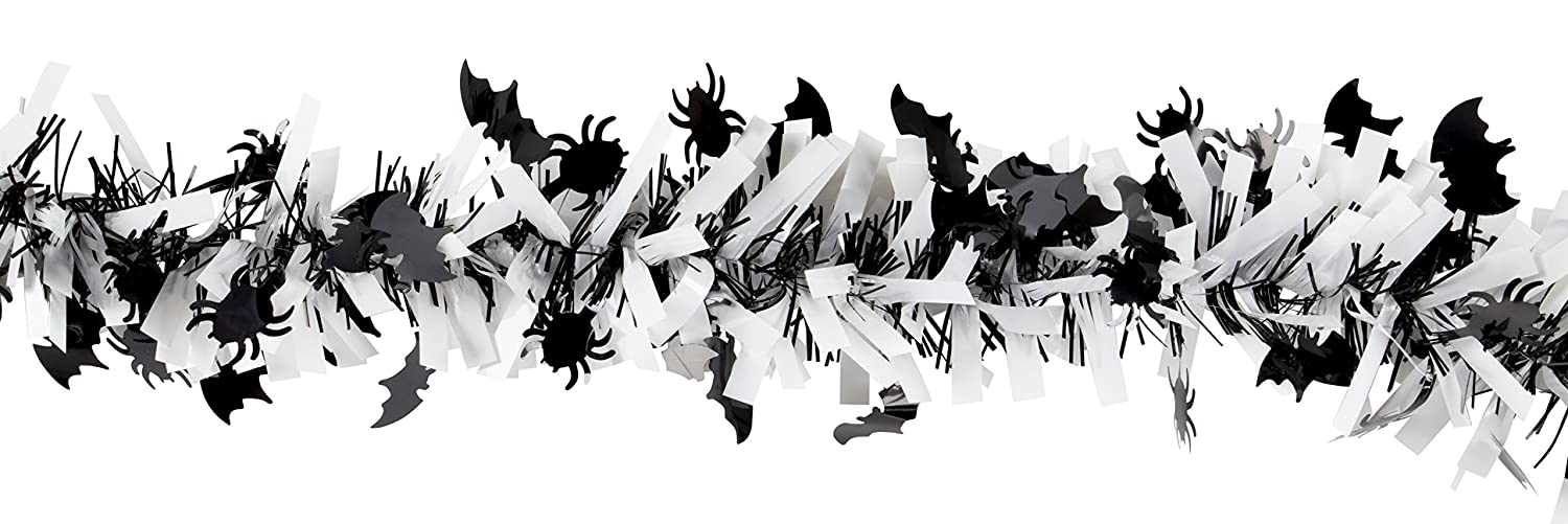 Halloween Tinsel Garland - 6-Pack Spider and Bat Garland for Halloween Party Decoration, Black and White, 6.5 Feet Each Juvale
