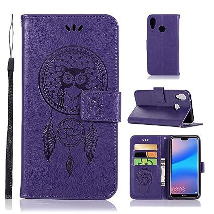 3f45aa103933f0 Huawei P20 Lite Wallet Flip Case ZVKVAMT Owl Embossed Design PU Leather Flip  Cover Built-