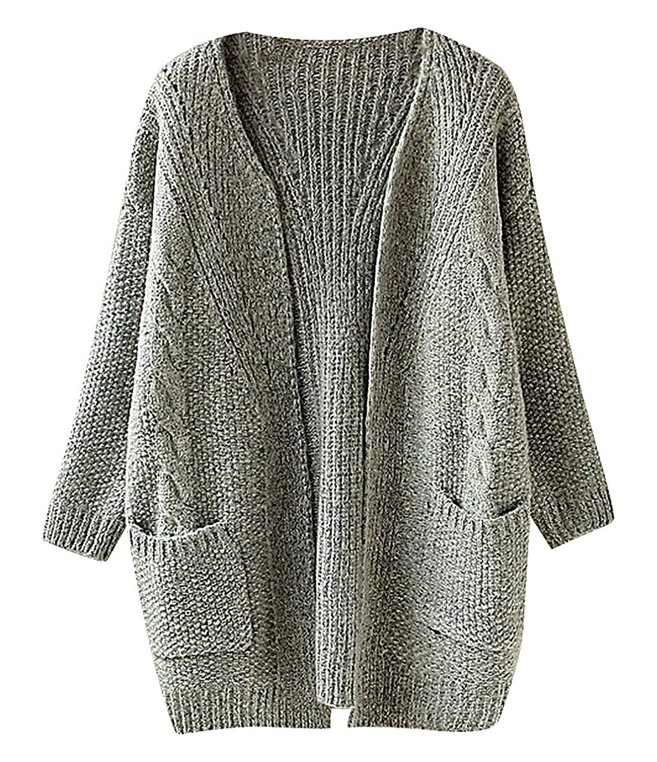 Maze, Women's Baggy Pocketed Eclectic Texture Long Sleeve Midi Sweater Cardigan