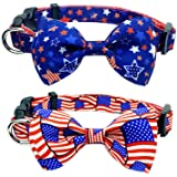 4th of July Holiday Dog Collar with Bow Tie, USA Independence Day Patriotic Collar for Small Medium Large Dogs Pets Puppies (
