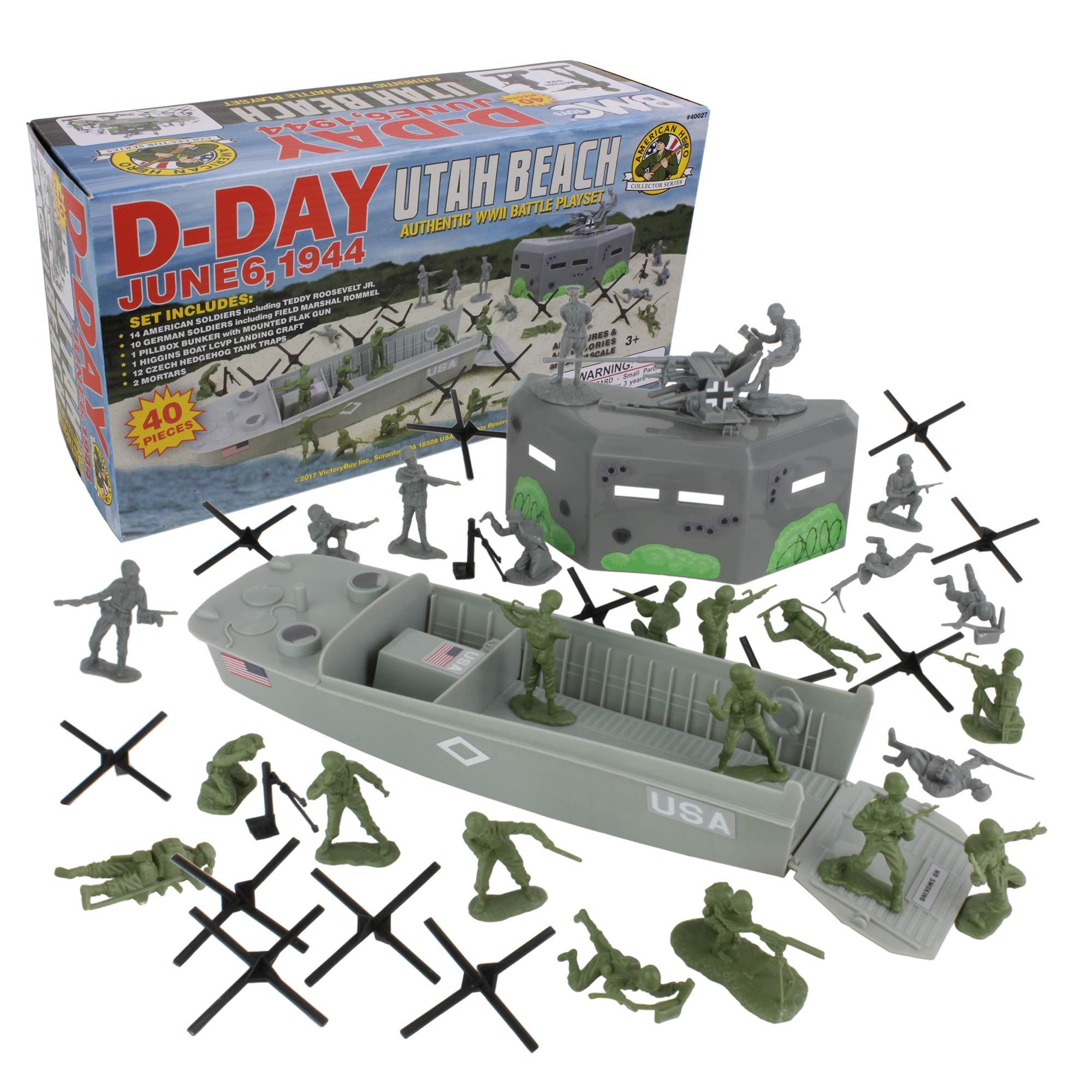 BMC WW2 D-Day Plastic Army Men - Utah Beach 40pc Soldier Figures Playset