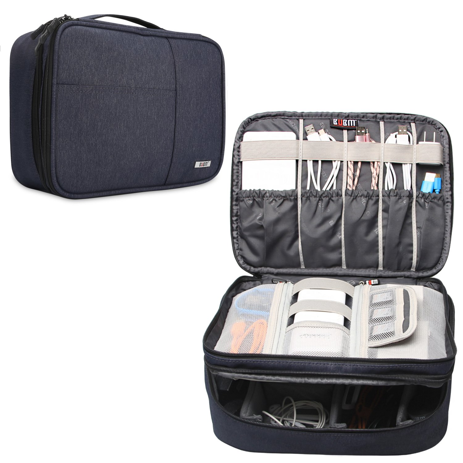 BUBM Travel Organizer, Electronic Accessories Storage Bag for Cord, Memory Card, Power Bank and More, A Pouch fits for iPad Pro (Extra Large,Dark Blue)