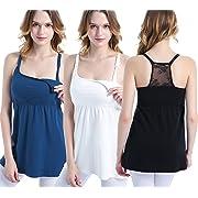 SUIEK Women's Nursing Top Tank Cami Maternity Shirt Sleep Bra for Pregnancy (Large, Black+Atrovirens+White(3pcs))