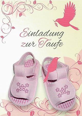 Einladungskarten Taufe Mädchen Mit Innentext Motiv Rosa Schuhe 25  Klappkarten DIN A6 Mit Weißen Umschlägen Im