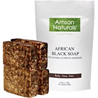 African Black Soap (1.32 lb / 4 bars x 150 grams) - by Amson Naturals -100% Natural Pure Authentic Traditionally…