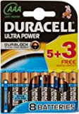 Duracell MX2400 Ultra Power AAA Size Batteries - Pack of 8 Batteries