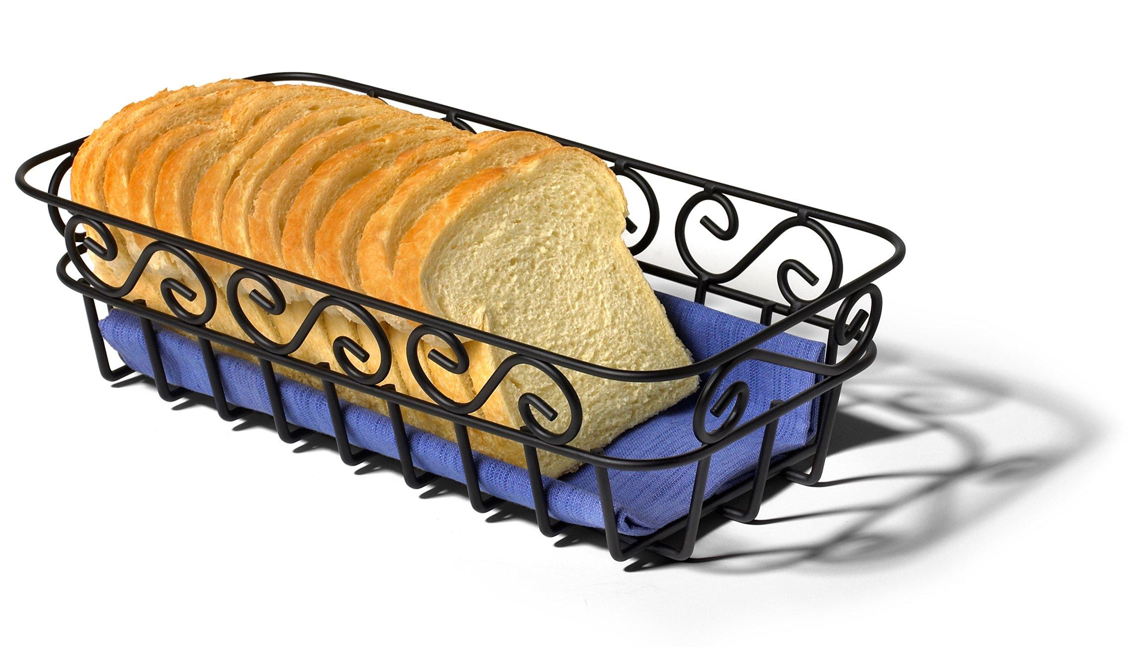 Spectrum Diversified Scroll Bread Basket, Black