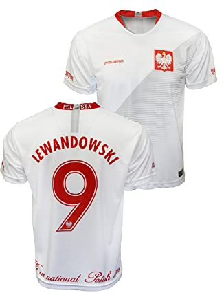 newest collection 4cd5b 69b24 Amazon.com: Men's Polish Polska #9 Lewandowski Replica ...