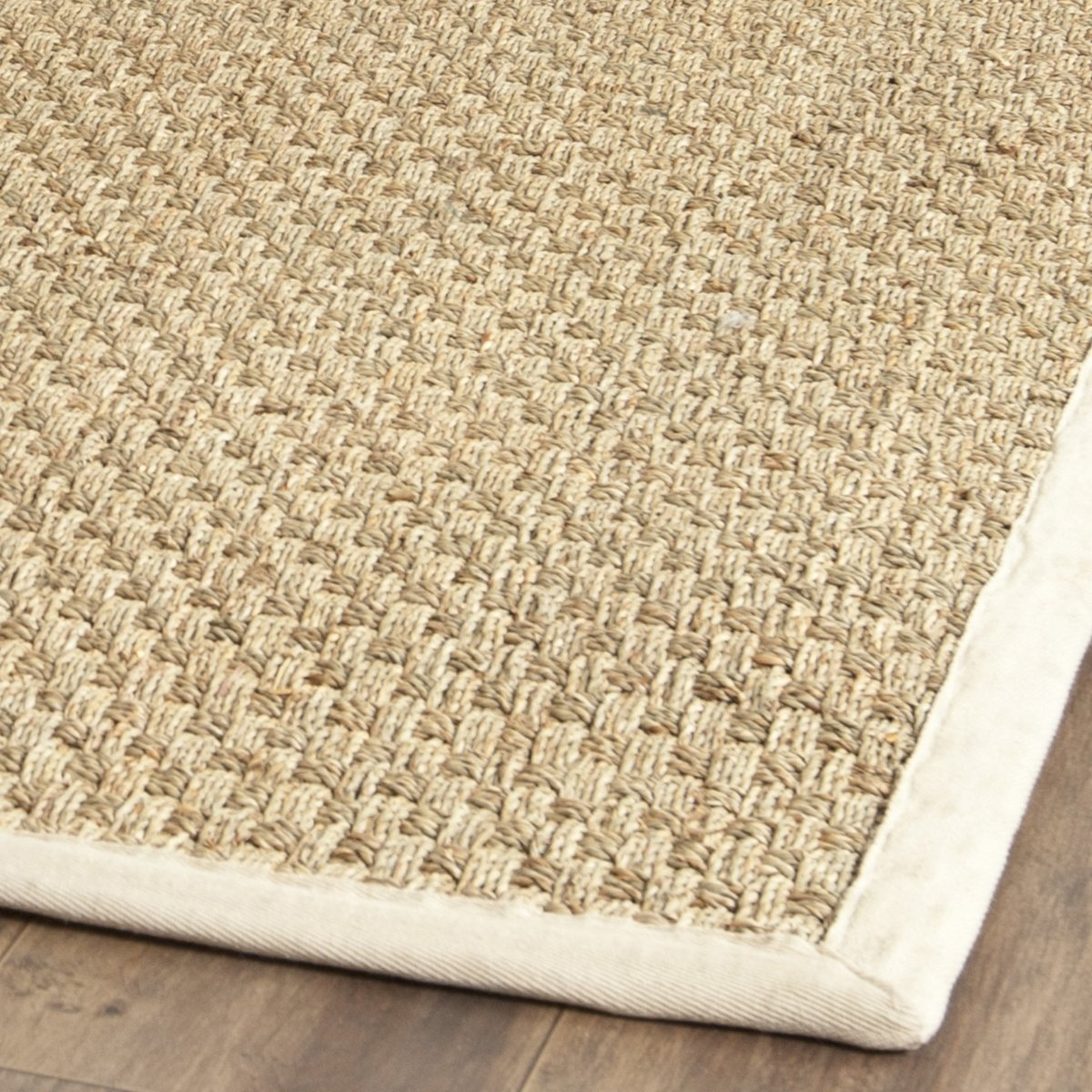amazoncom safavieh natural fiber collection nf114j basketweave natural and ivory seagrass area rug 2u0027 x 3u0027 kitchen u0026 dining