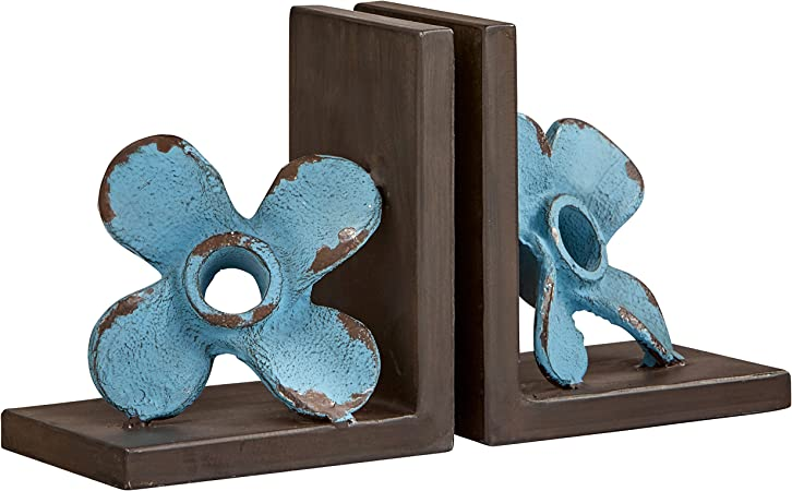 Bellaa 20881 Gear Bookends Industrial Vintage Style Sculptural Decorative Book Holder Resin