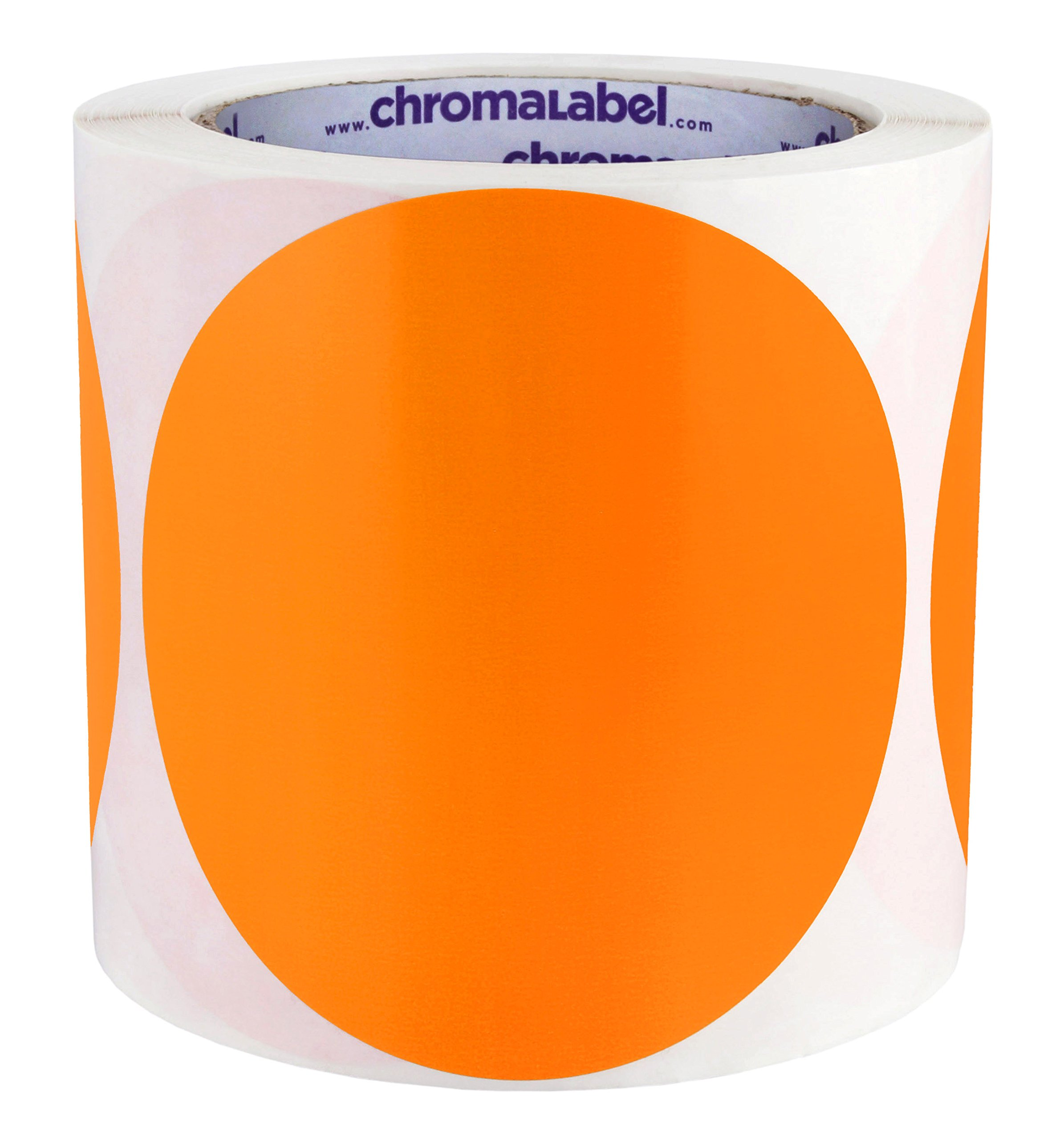 ChromaLabel 4 inch Color-Code Dot Labels | 250/Roll (Orange)