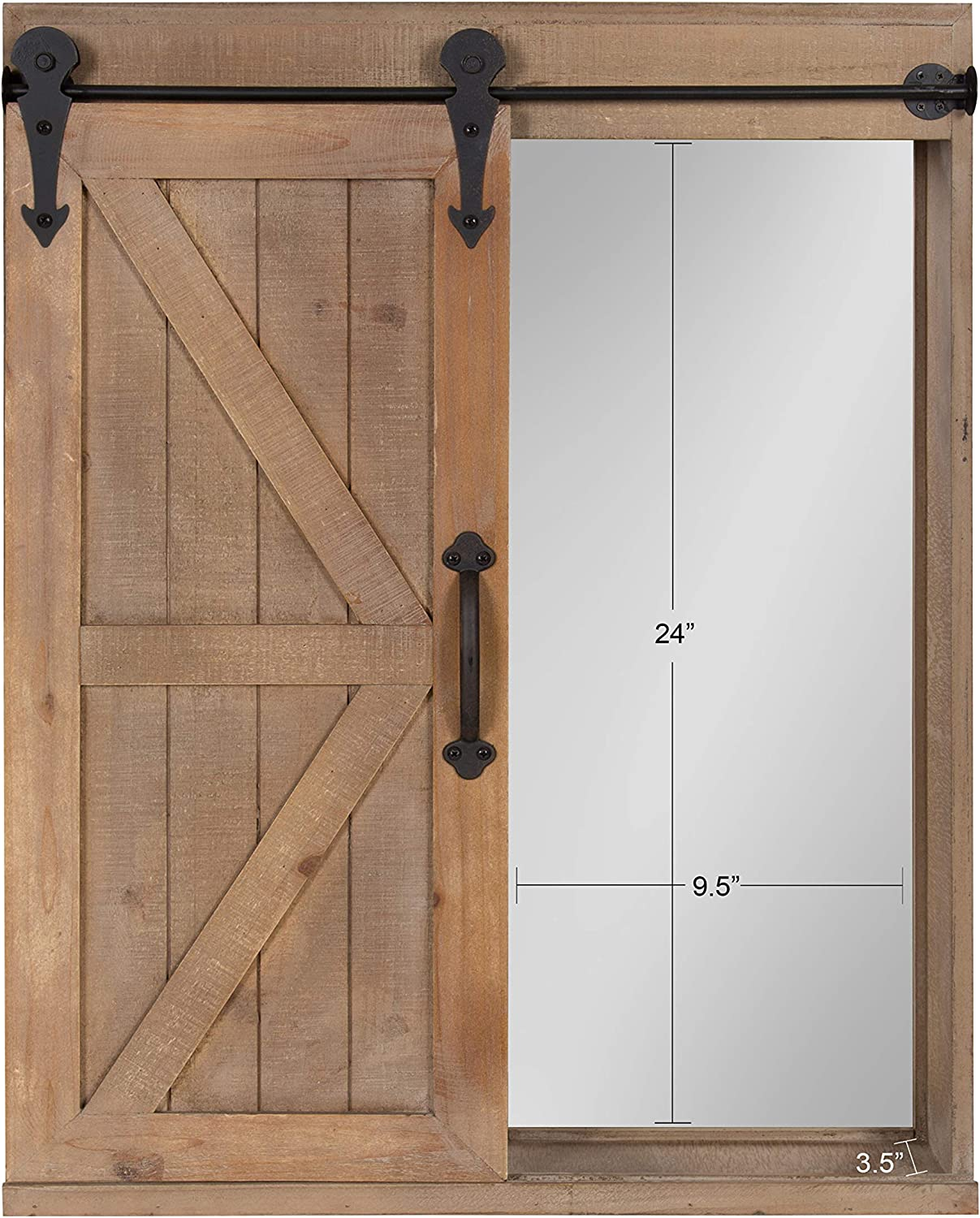 Amazon Com Kate And Laurel Cates Wood Wall Storage Cabinet With Vanity Mirror And Sliding Barn Door Rustic Brown Home Kitchen