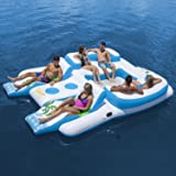 Inflatable Floating Island for 6 Person & 2 Contoured Suntan Lounges & Built In Cooler