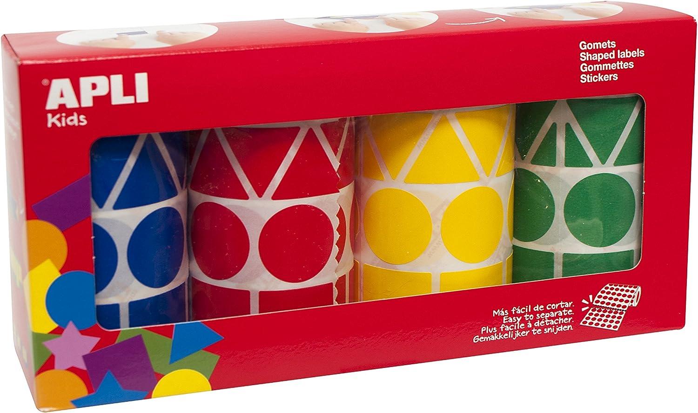 APLI Kids - Pack de 4 Rollo de gomets tamaño XL, colores azul, rojo, amarillo y verde, 5.428 uds
