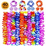 Ginmic Hawaiian Leis, Luau Party Favors, 40Pcs Tropical Hawaiian Party Necklace, Headbands and Wristbands, For Kids or Adults Party Supplies, Summer Beach Vacation, Theme Party Decorations, Birthday, Wedding