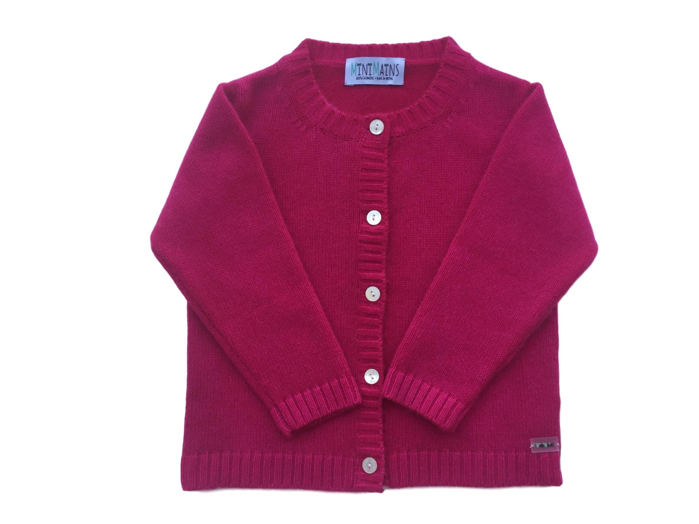 Minimains Little Girls' Pure Cashmere Round-Neck Cardigan 2y Hot Pink