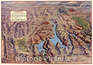 Historic Pictoric Map : Panoramic Perspective of The Area Adjacent to Hoover Dam and Lake Mead Recreational Area, 1953, Vintage Wall Art : 63in x 44in