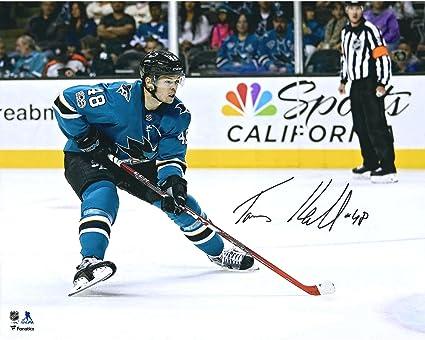 """5be499e13 Tomas Hertl San Jose Sharks Autographed 16"""" x 20"""" Teal Jersey  Skating Photograph -"""