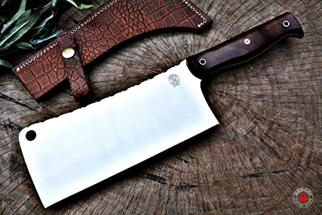 BOBCAT Custom Handmade Cleaver Butcher Knife THE ROCK D2 Steel 7.50-inch Heavy Duty With Leather Sheath