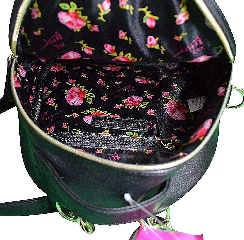 BETSEY JOHNSON Black Medium Jewel Studded Backpack Womens